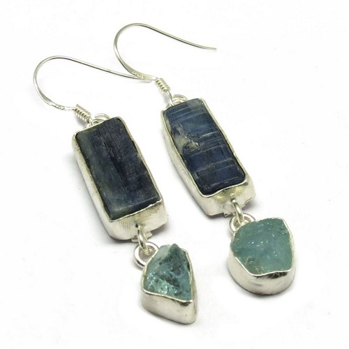 Genuine Rough !! Kyanite_Aquamarine 925 Sterling Silver Earring, Fashion Silver Jewelry, Rough Stone Earrings