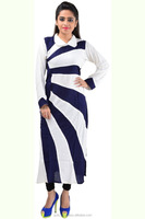 Fashionable Ladies Top White And Blue Stripes Style Rayon Kurti