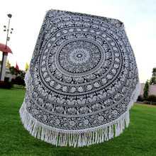Elephant Round Mandala Tassel Fringing Beach Throw 100% cotton Large Flower Wholesale Indian Printed Tapestries