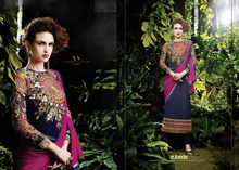 Georgette Straight Cut Salwar Suit With Embroidery