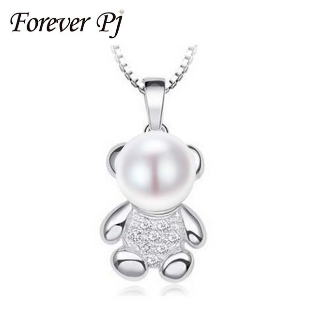 Forever Lover little bear pendant necklace with 8-9mm natural pearl 925 Sterling Silver fashion jewelry for women girl gift 2016
