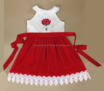 hand embroidery valentine dress for girls 2017