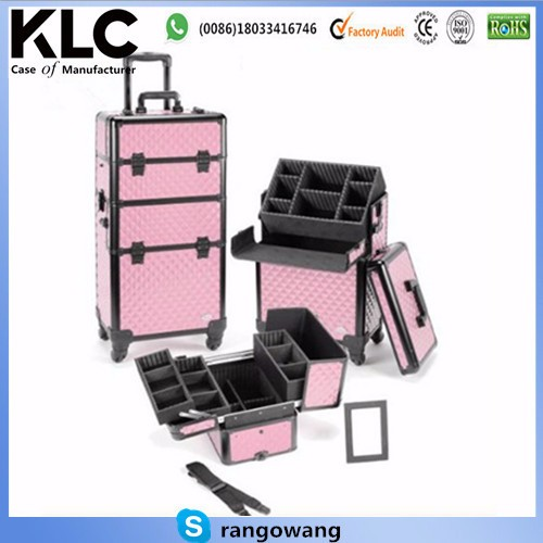 Custom-made Pro Aluminum Cosmetic Makeup Case 4 Wheeled Spinner w/ Adjustable Dividers (Pink Diamond)