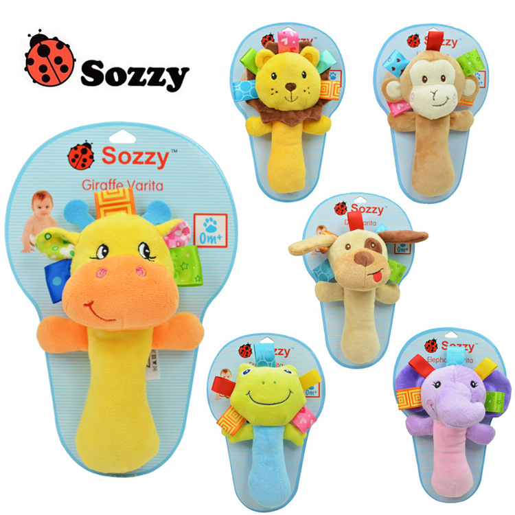 Animal Hand Bells Plush Baby Toy Sozzy multi - functional baby animal hand cranked bar BB stick baby rattle grip educational toy