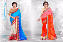 Season Special Designer Embroidery Saree in Lace Border & Glamour Looking