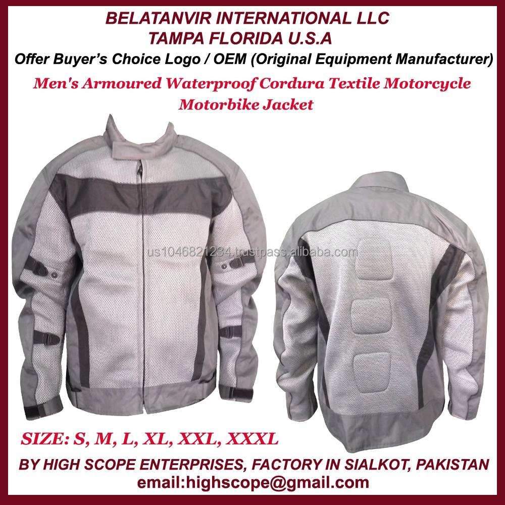 MotorCycle/ Motor Bike Jacket For Men Made Of Cordura Polyester Fabric Armoured/ WaterProof Color Black