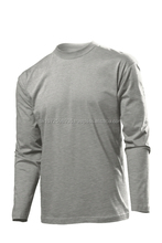 Men Cotton Jersey Plain Colored Fitness Gym Clothing Lifting Workout O Neck Long Sleeve Muscle Fit T-shirts