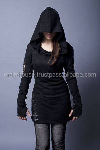Plan Long High Quality Ladies Hoodie without Zip