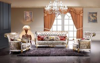 Royal wedding white sofa set is used solid wood, fabric and high density sponge for the living room furniture