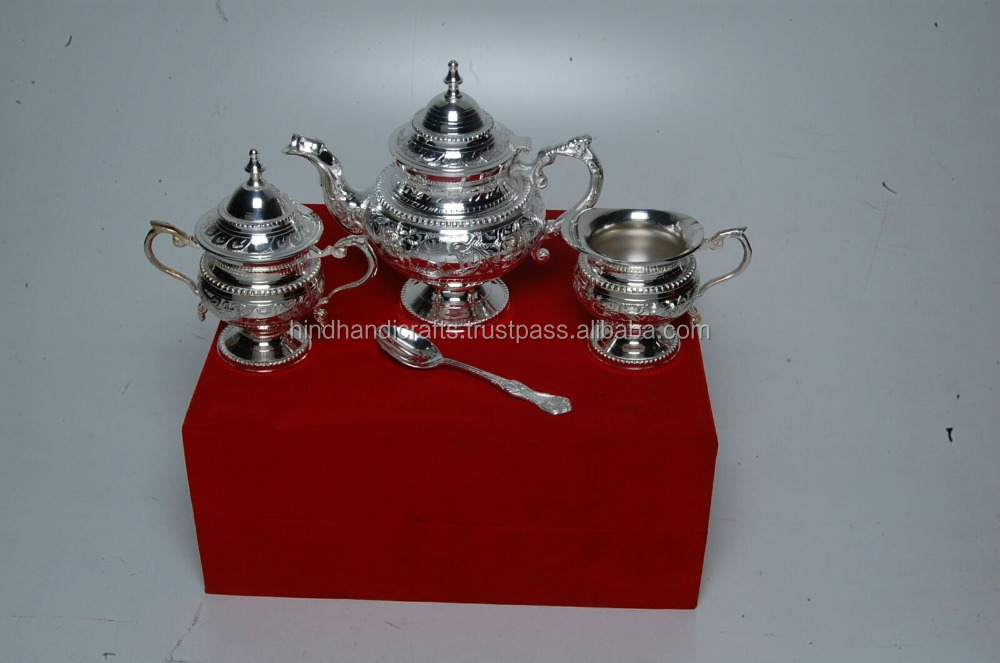 Silver Plated Tea Coffee Set Of Kettle, Milk Kettle Sugar Bowl And Spoon