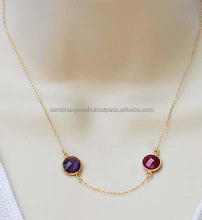 Sterling Silver Amethyst Quartz & Dued Ruby Gemstone necklace