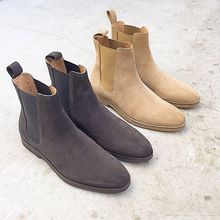 Chelsea Boots Black and Beige Colors Ankle Shoes Chelsea With Crepe Soles Handmade