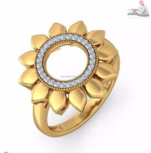 Hot Sale Beautiful 14k Pure Gold Natural Certified 100% Diamond Sunflower Ring