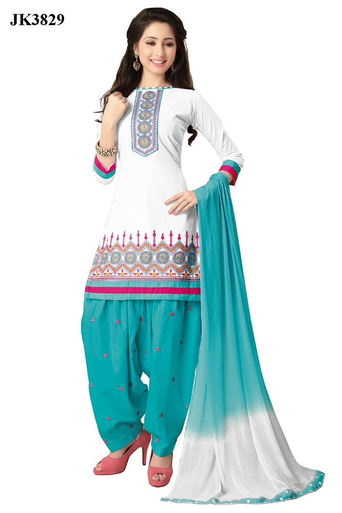 Graceful White And Turquoise Color Cotton Un Stitched Patiala Dhoti Salwar Suit