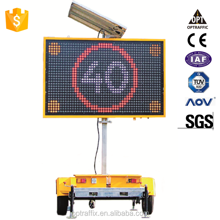 HOT SALE CE EN12966 AS4852.2 Solar Power Outdoor Programmable VMS Signs Mobile Trailer LED Display Variable Message Signs