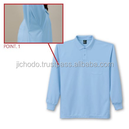 Quick dry and antistatic polyester t shirts with polo collar ( long sleeves ). Made by Japan