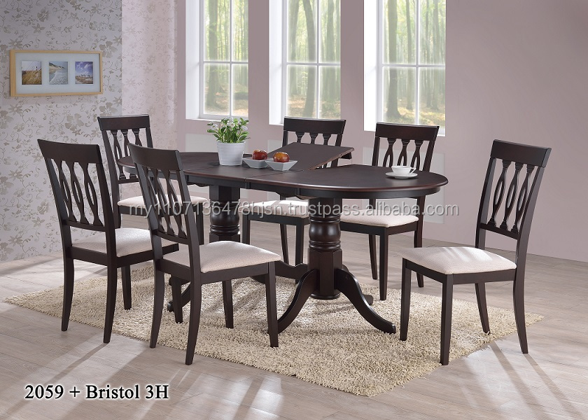 Malaysia dining table set / Butterfly extension table and wooden chair