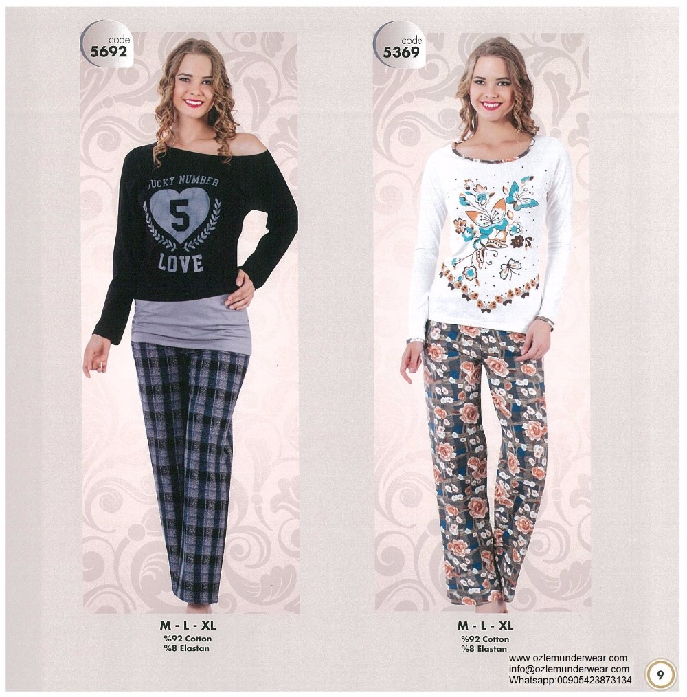 winter 2016 season inexpensive ladies cotton pajamas Turkey