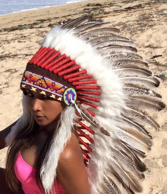 American Headdress Coffiene Indian SEXY CARNIVAL COSTUME real Feather