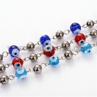 Handmade Evil Eye Lampwork Round Beads Chains for Necklaces Bracelets Making AJEW-JB00106