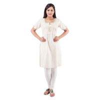 Plus Size Cotton Cream Kurti For Women ( DMK_00025 )