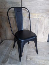 black-industrial-chair,MODERN BLACK METAL DINING CHAIR