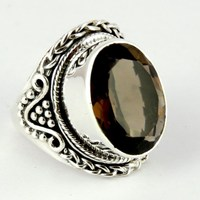 Love At First Sight Smoky Quartz 925 Sterling Silver Ring, Silver Jewelry Exporter, Silver Jewellery