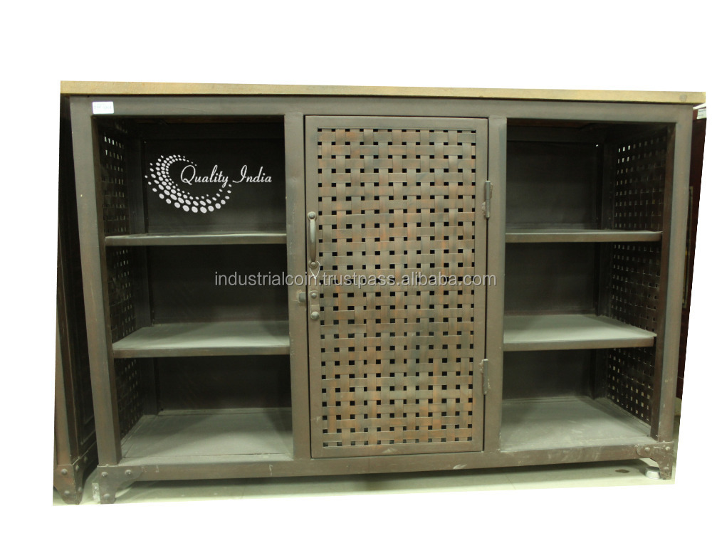 Grid Design One Door With Six Shelves Metallic Side Cabinet