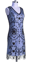 Cocktail Short Dress. flapper dress with short sleeve & Art deco Beadwork Designs