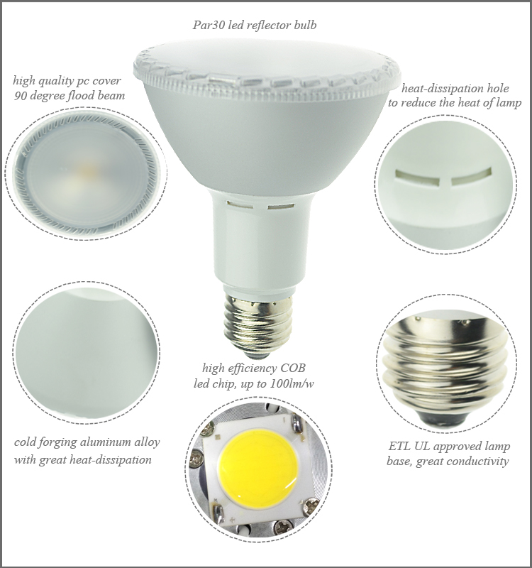 ETL Listed 30 / 38 / 90 Degree Beam Angle 15W COB Spotlight Dimmable LED Spot PAR30 E27