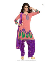 Manufacturer and Exporter of Designer Chanderi Chudidar Suits