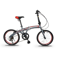 "ASOGO 20"" Folding Bike Foldable Bicycle Matte Grey with Red"
