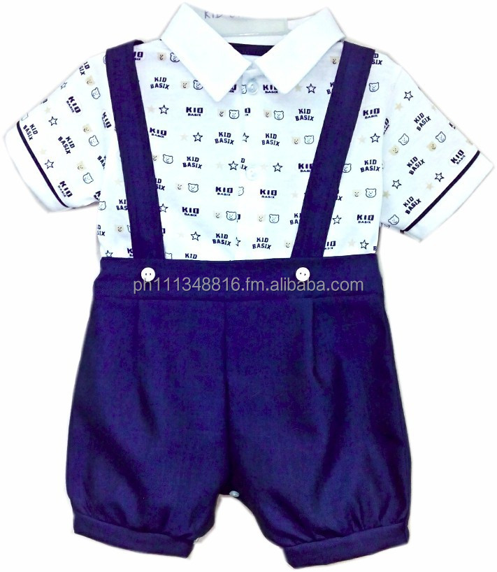Infant Baby Boy Clothes - 2pc Shortset w/Strap and Kid Basix All Over Print Pull Over w/Navy Twill Shorts