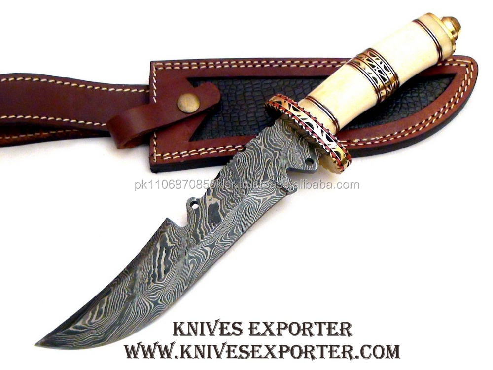 Custom Handmade Damascus Steel Hunting Knife, Bone & Engraved Brass Spacer & Guard Handle
