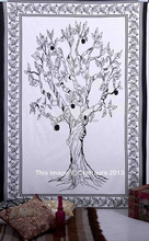 "Indian Tree of Life Tapestry Wall Hanging Twin Picnic Sheet Beach Throw Blanket 55X85"" Single Bed Spread Black And White Apple"