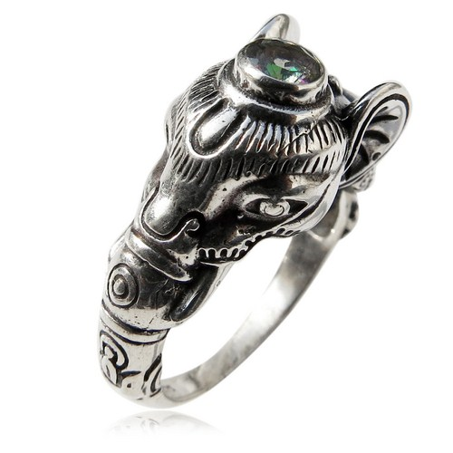 Gorgeous Mystic Topaz Gemstone Elephant 925 Sterling Silver Ring, Fashion Silver Jewelry, Wholesale Silver Jewellery