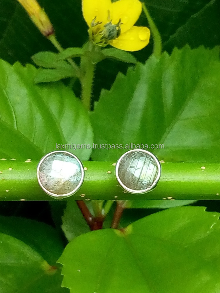 Natural Labradorite 6mm Round Silver Plated Silver Earring, Blue Fire Gemstone Earring, Indian Handmade Earring