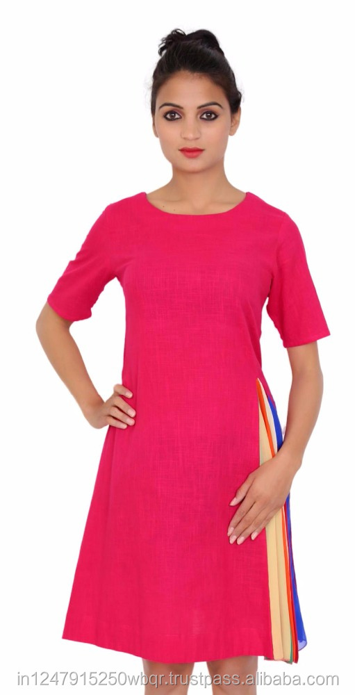 Solid Pink Color Round Neck Women's Dress