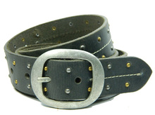 2017 Full Grain leather belt With Rivets , jeans casual wide stitched