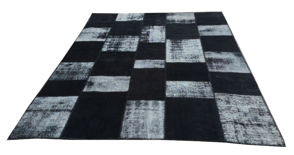 Black overdyed patchwork rug
