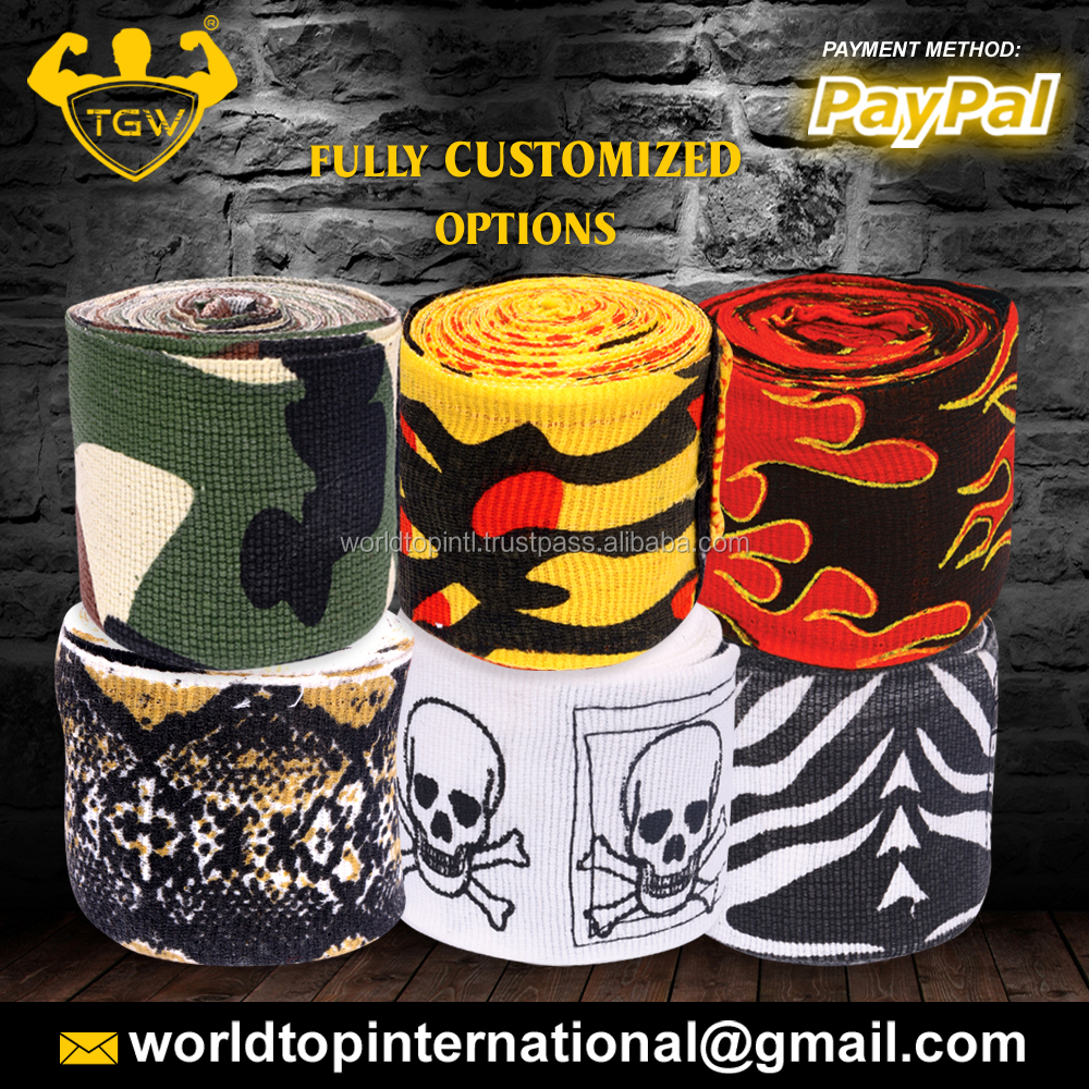 Fitness Hand Wrap / Wholesale Custom Design Hand Wraps / World Brand Boxing Hand Wrap Range With Fine Quality