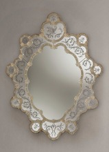Murano Glass Venetian Mirror Bassi with 24kt Gold Decor