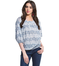New Fashion Round Neck Ikat Print Elasticated hem Loose Tunic/Top Wholesale Indian Print