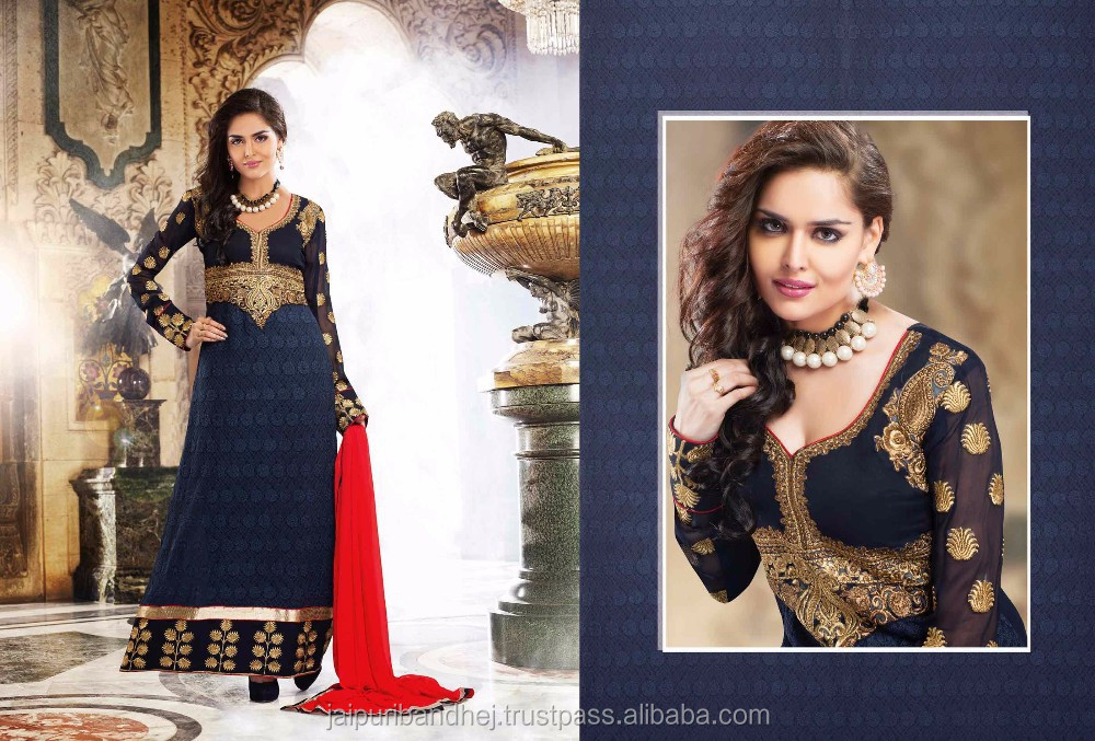 Navy Blue color Faux Georgette Fabric Lace Patch Work Resham Salwar Kameez