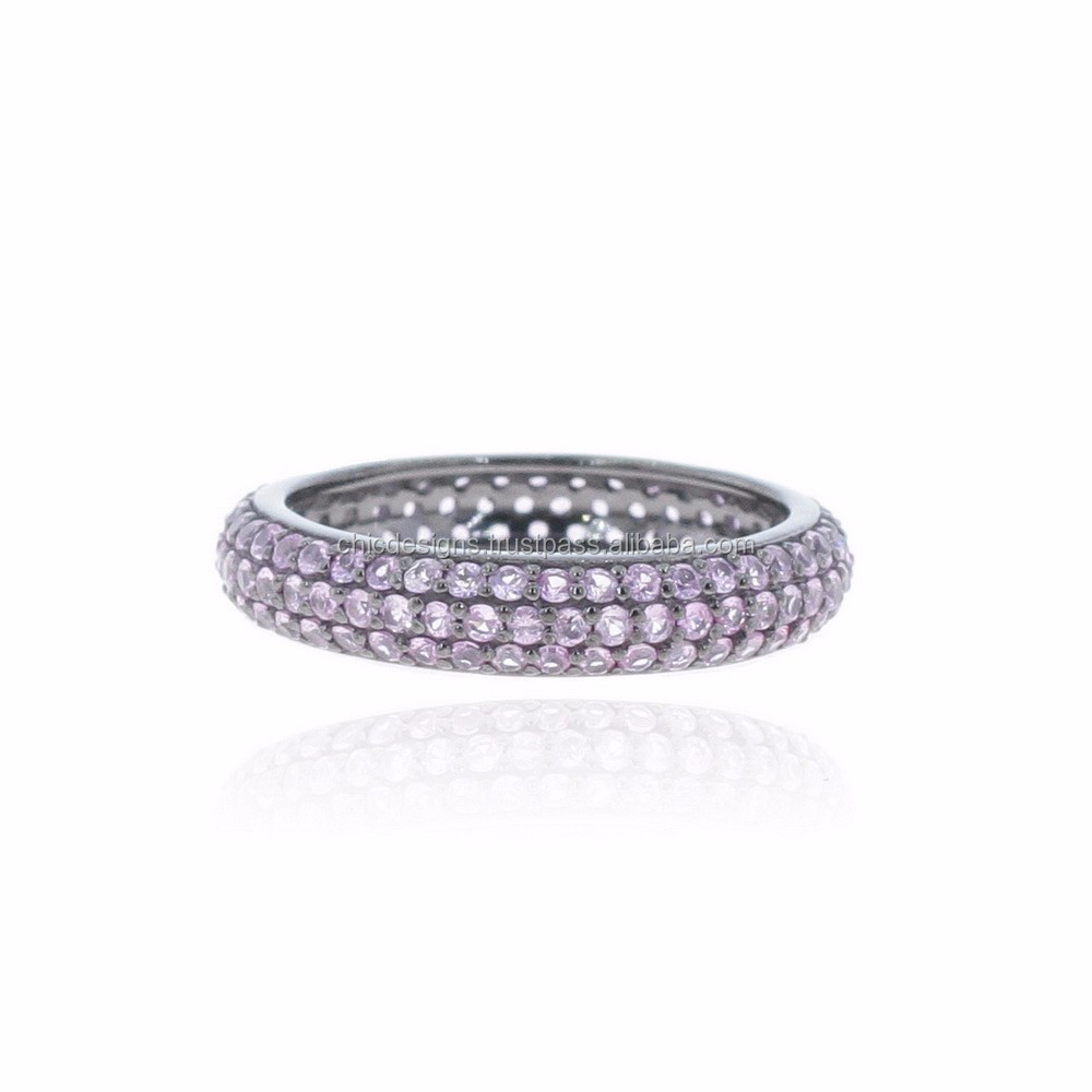 925 Sterling Silver Ring Jewelry Pink Sapphire Gemstone Band Rings Single Cut Pave Band Ring Woman's Fashion Jewelry Manufacture