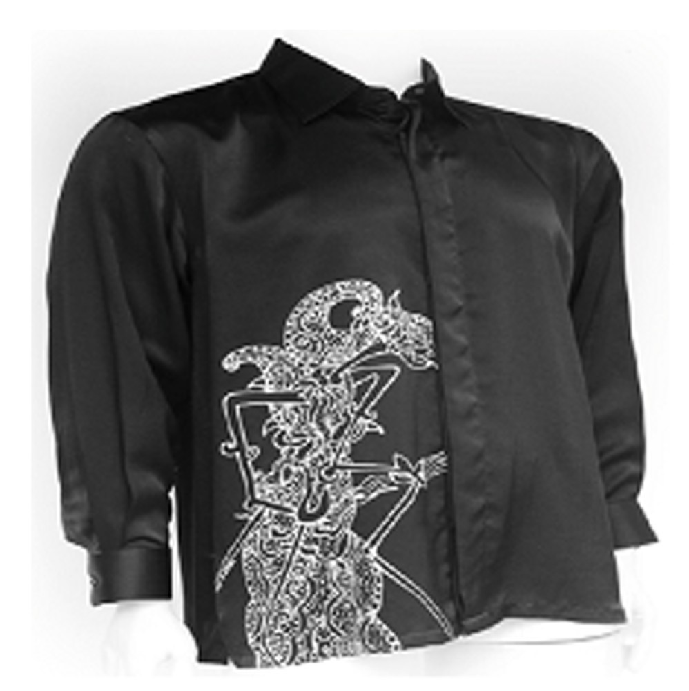 Men's Silk Shirt Long Sleeve (Black)