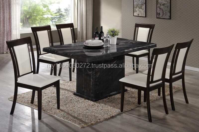 Latest Stainless Marble Top Table Cushion Solid Wood Chair for Restaurant