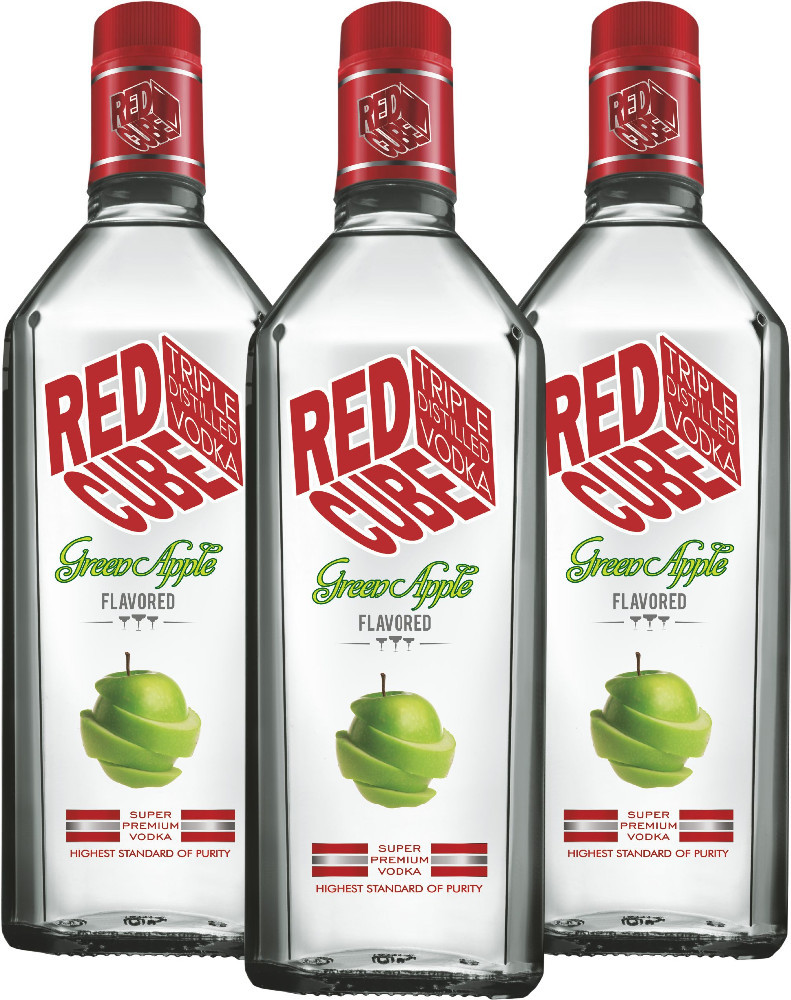 Red Cube Green Apple Flavoured Vodka