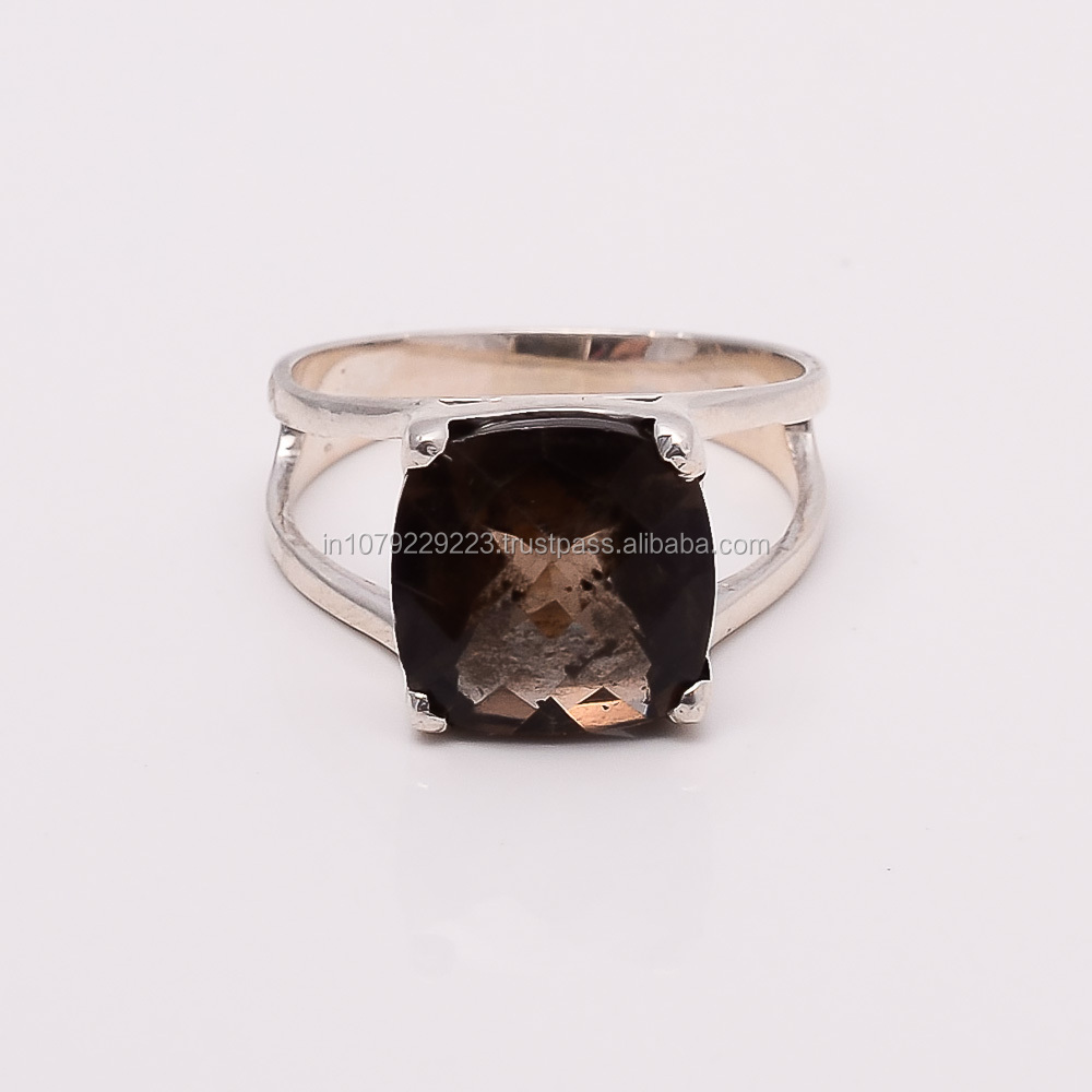RAINBOW MIST!! SMOKY QUARTZ RING SILVER EXPORTER,SILVER JEWELRY FROM INDIA
