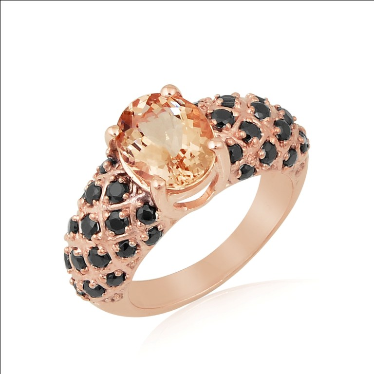 amazing rose gold plated black spinel oval morganite gemstones silver ring jewellery